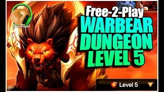 SUMMONERS WAR : Warbear Secondary Awakening Dungeon - Free-2-Play Team!