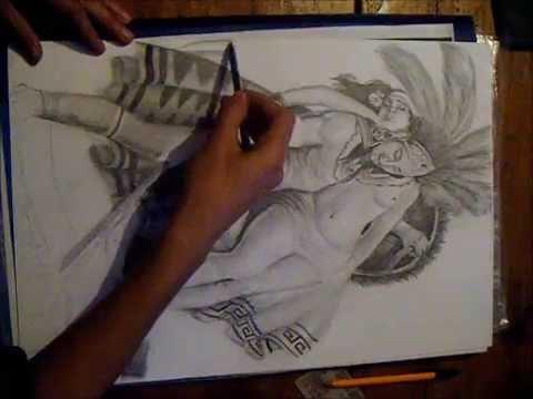 Dibujo A Lapiz De Azteca La Leyenda De Los Volcanes Youtube