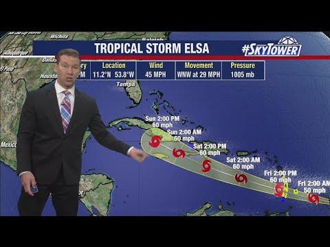 Tropical Storm Elsa Thursday evening update