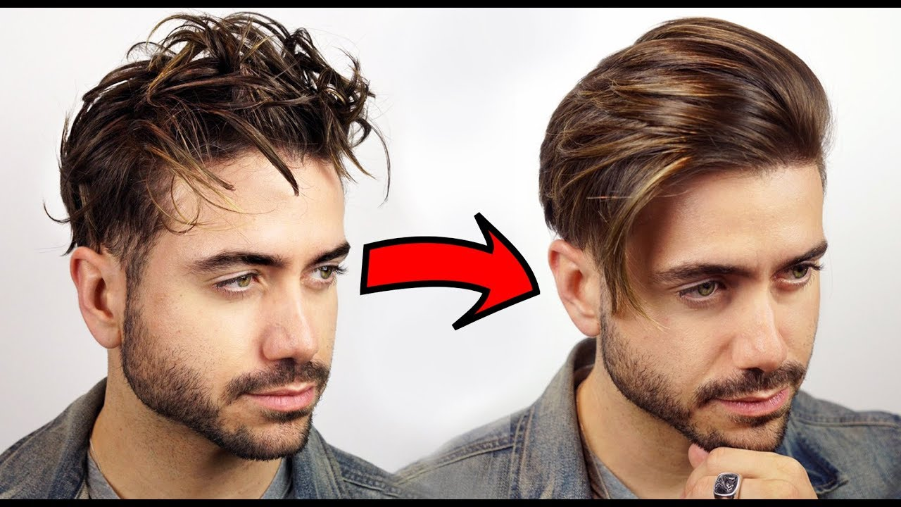 How To Get Straight Hair Men S Curly To Straight Hair Tutorial 2018
