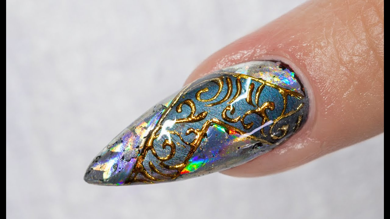 Nail Art Holographic Foil Design Youtube