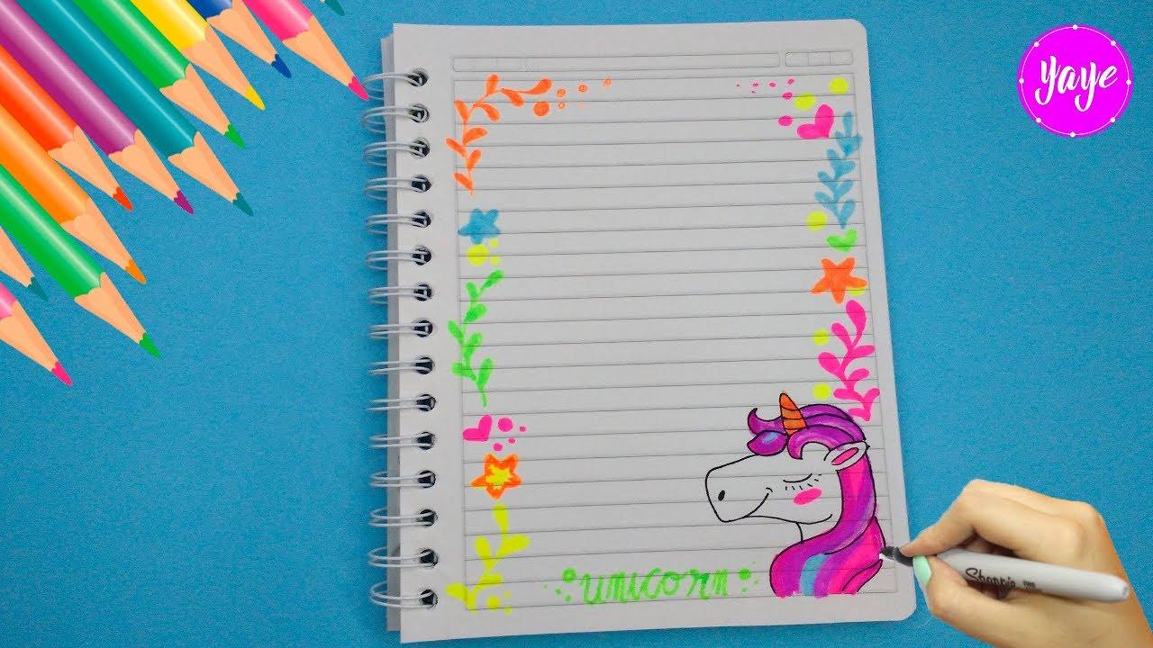 Idea Hermosa Para Marcar Cuadernos Cómo Dibujar Margen De Unicornio Yaye