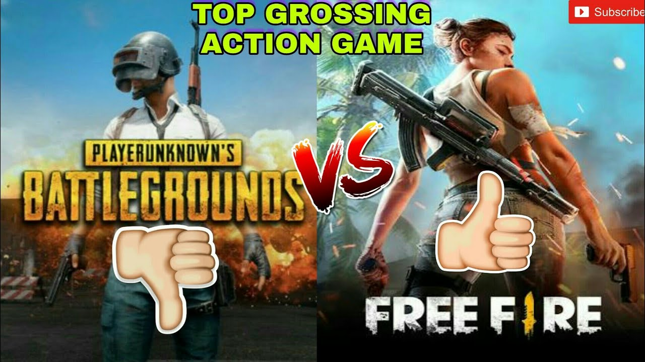 PUBG vs FREE FIRE   Top Grossing Action Game on PLAY STORE ...