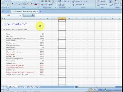 ExcelExperts.com - Excel Tutorial - Cause Of Big Excel Files