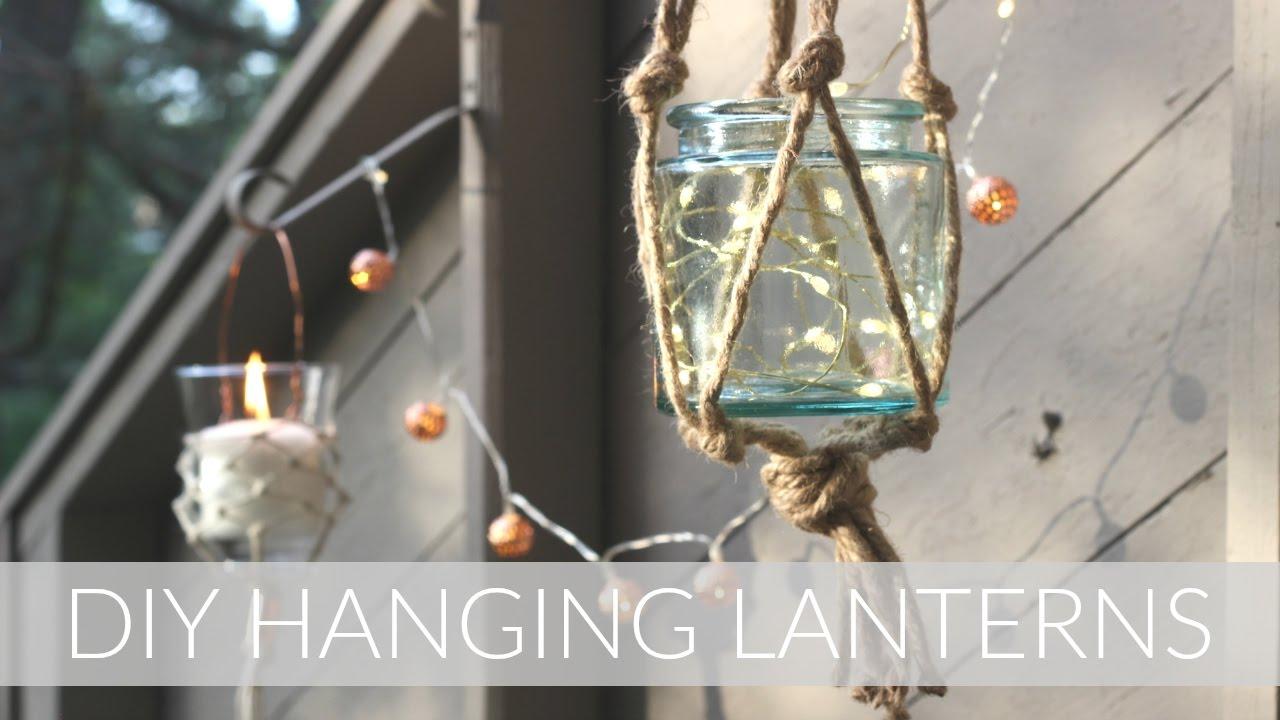 diy macrame style hanging lanterns outdoor diy decor