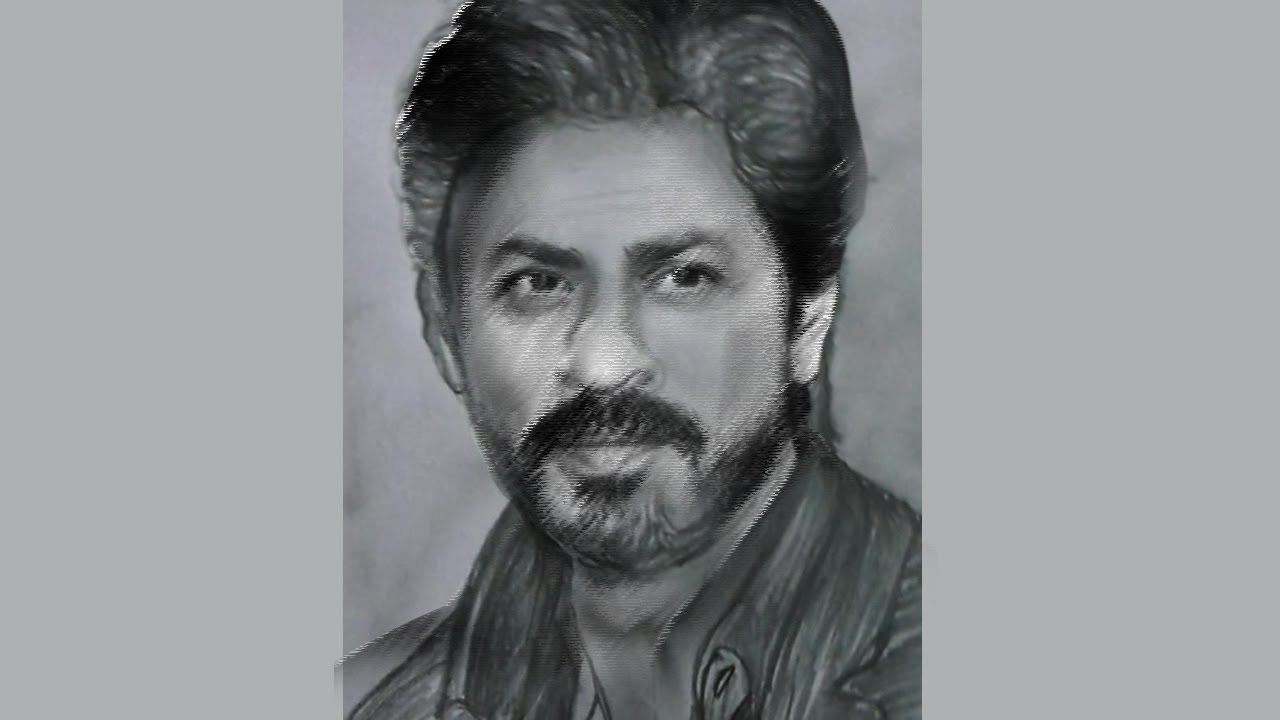 How to drawing shahrukh khan face with pencil ✔draw only200 seconds✔full hd 1080 p