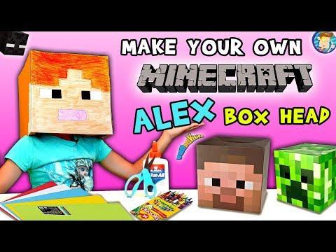 HOW TO Make a MINECRAFT ALEX Box Head! FUNnel Vision DIY Cosplay Tutorial w  Lexi ✂