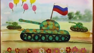 Как нарисовать танк поэтапно. Видео урок для детей 4-6 лет.