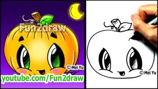 How to Draw a Pumpkin for Halloween - Fun2draw Cartoon Tutorial