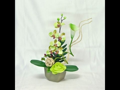 504e2fe663773 como hacer centros de mesa con flores artificiales - YouTube