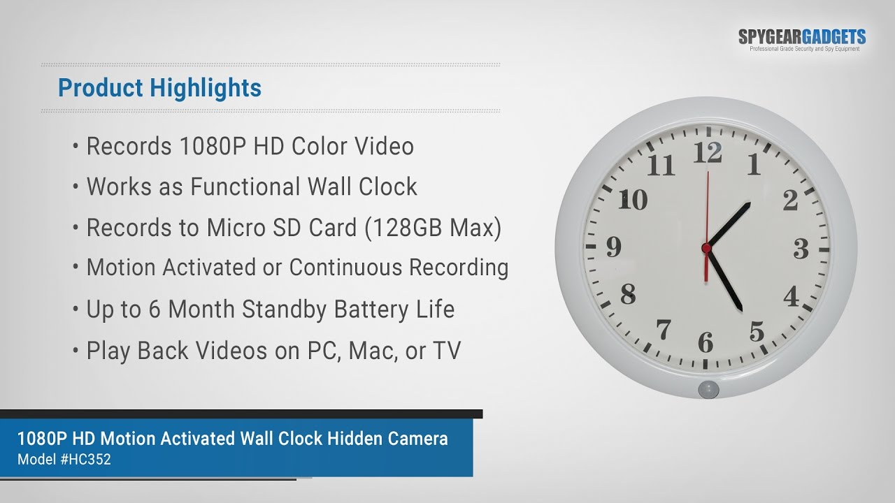 Spygeargadgets 1080p hd motion activated wall clock hidden camera spygeargadgets 1080p hd motion activated wall clock hidden camera overview and sample video footage amipublicfo Choice Image