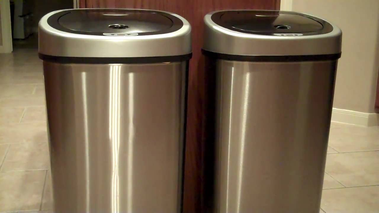 Ne Stars Motion Sensor Slim Touchless 13 Gallon Trash Can, Stainless Steel    YouTube