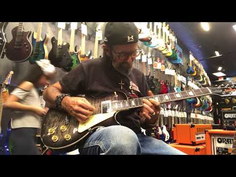 MIKE POWERS at guitar center' with new PC 23 POWERS CUSTOMS ROCK STAR