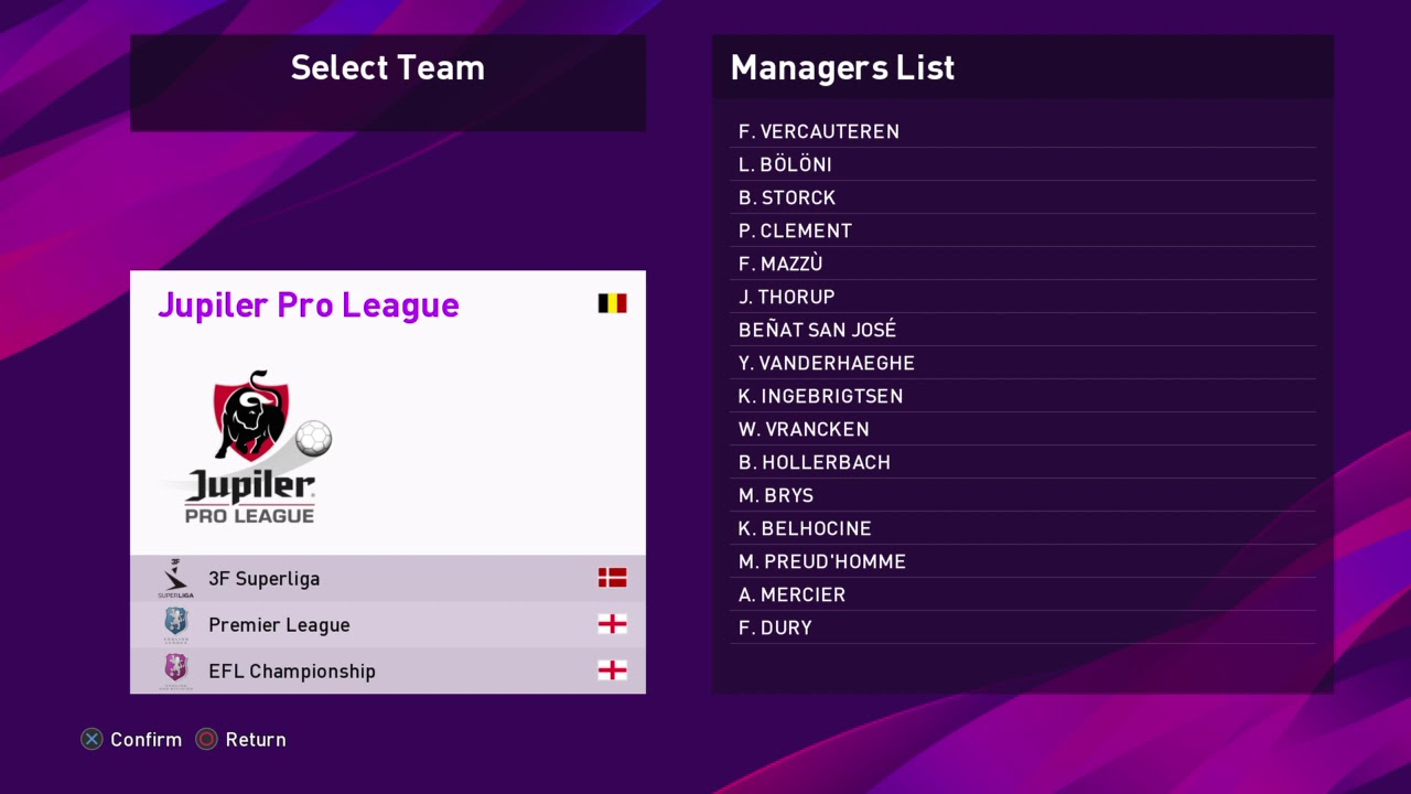 Jupiler Pro League Teams Managers Pes 2020 Youtube
