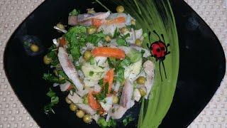 Салат с сельдью и зелёным горошком!