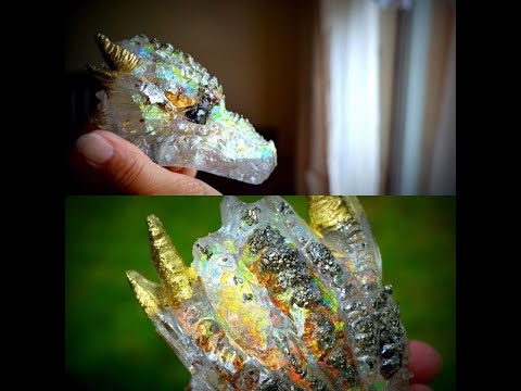 Watch me Holo resin pouring | Opal Dragon master of light Diy how i made it magical.