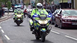 2 London Police Bikes + Van Arrive On Scene