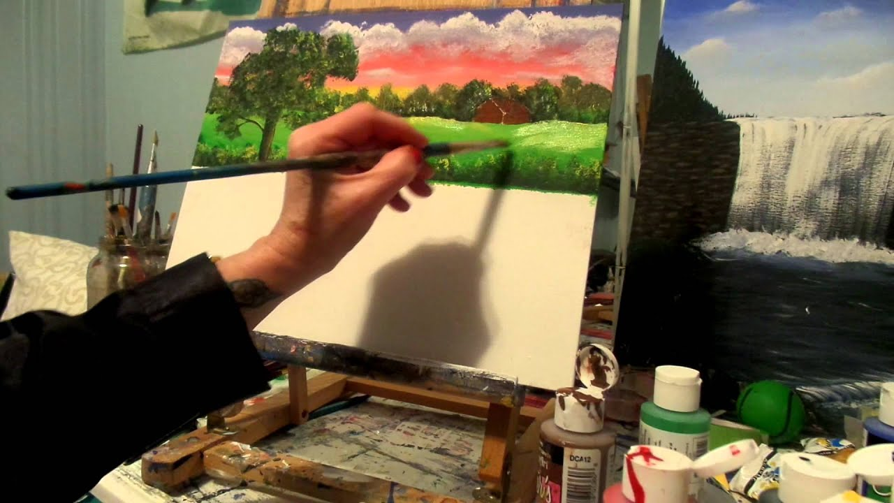 How to paint a country cottage acrylic painting lesson 7 for Acrylic mural painting techniques