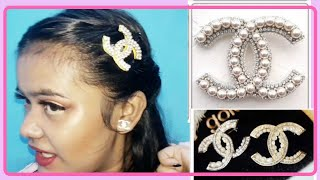 DIY CHANEL EARRINGS , CHANEL HAIR CLIP AND CHANEL BROOCH