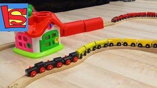 Поезд видео железная дорога много вагонов пассажирский, товарный и пожарный