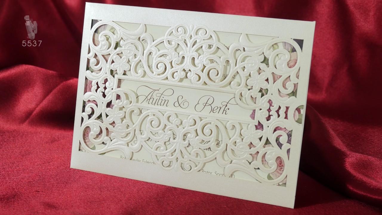 a061c4c58b Laser Cut Embossed Envelope Floral Design Wedding Invitation 5537