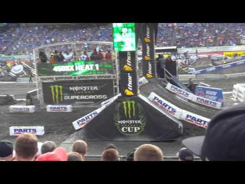 Supercross 2016 450 heat 1 first lap at Foxborough MA
