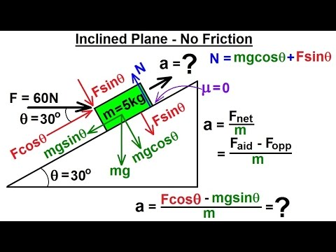 Physics - Mechanics: Friction & Forces at Angles (5 of 8) Inclined Plane - No Friction