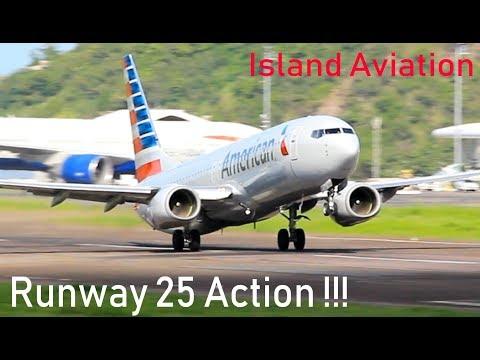 Runway 25 in use !!! British Airways 777-200, American 738, Islander action with ATC !!