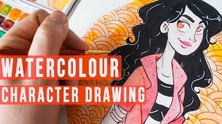 Watercolour Character Drawing | Draw with me | Liz Lapointe