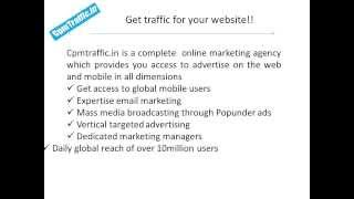 CPM Traffic - Targeted Mobile, Popunder and Banner Traffic.