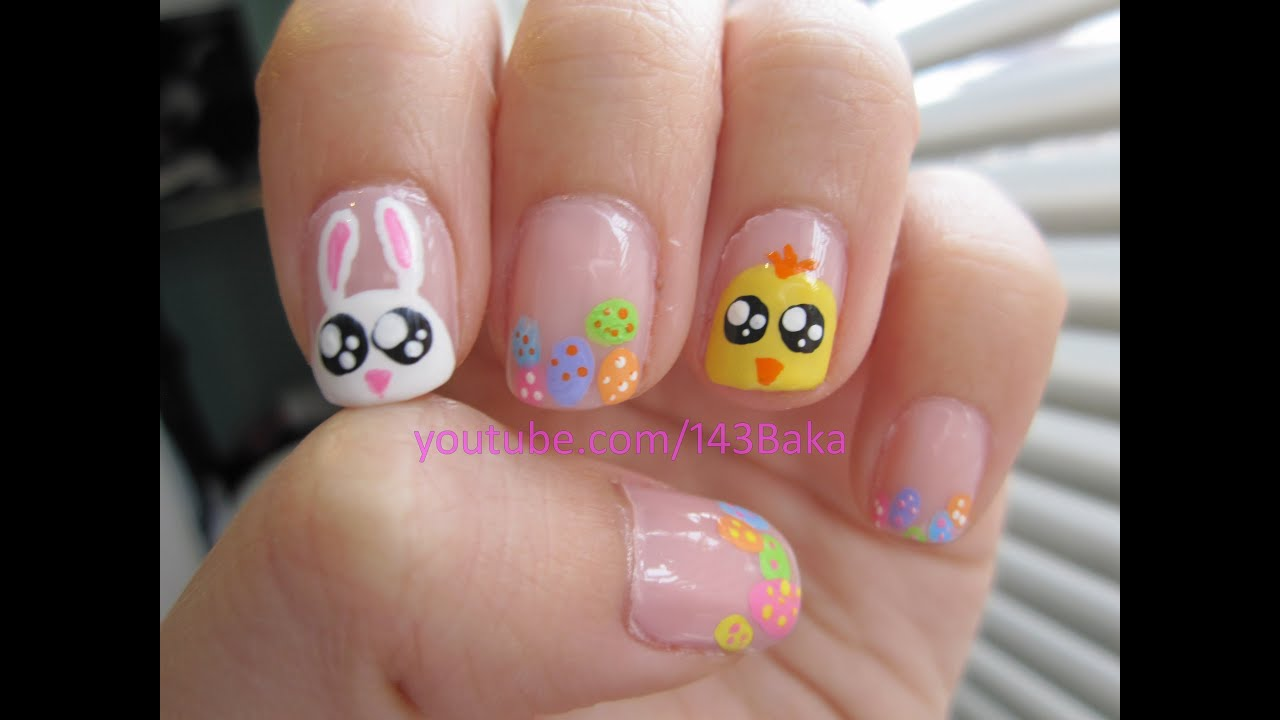 Easter Bunny/Chick Nails - YouTube