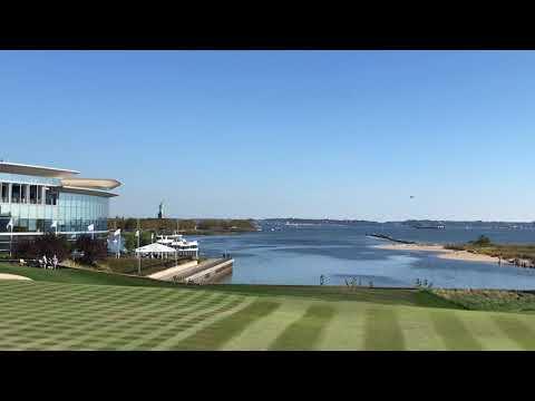 President Donald Trump lands near Liberty National Golf Club on Marine One