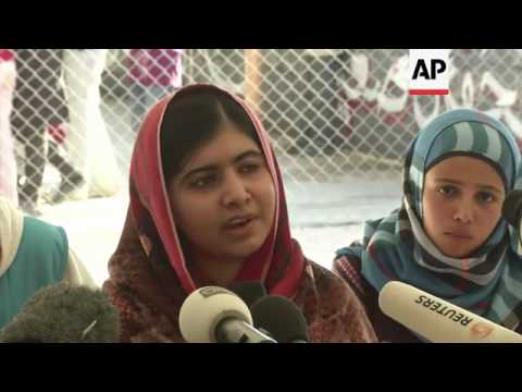 Pakistani girl shot by Taliban visits children in camp for Syria refugees