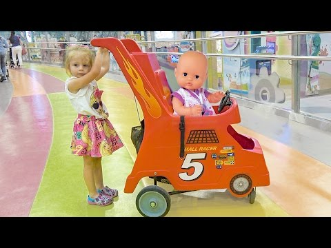 Thumbnail: Кукла Беби Борн и Настя КАК МАМА Baby Born doll and little girl play to indoor playground for kids