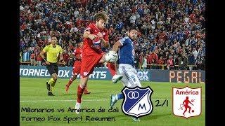 Millonarios 2-1 América de cali Torneo Fox Sport Resumen.