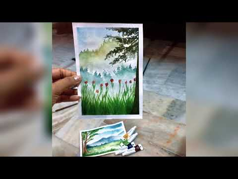 Simple watercolour landscape painting for beginners