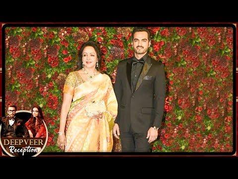 Dreamgirl Hema Malini With Son In Law Wish Deepika Padukone Ranveer Singh At Their Reception
