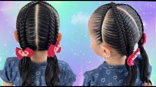 Peinado trenza para el colegio /Trenzas cruzadas sobre trenzas postizas /trenzas para la escuela