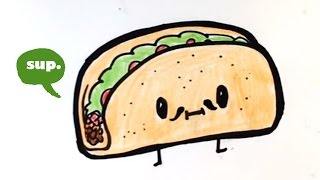 How to Draw a Taco - Chibi - Easy Pictures to Draw