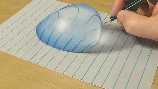 Very Easy - Drawing Big Water Drop on Lined Paper - 3D Anamorphic Illusion