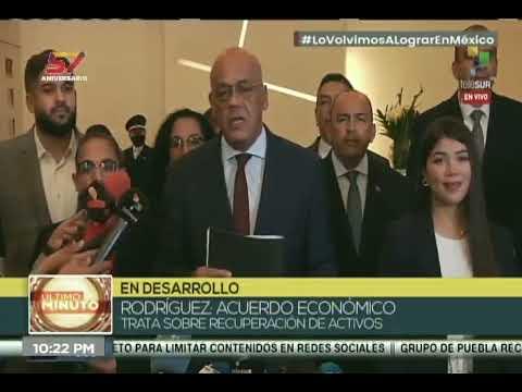 Jorge Rodríguez informa de dos acuerdos con la oposición en diálogo en México, 6 septiembre 2021