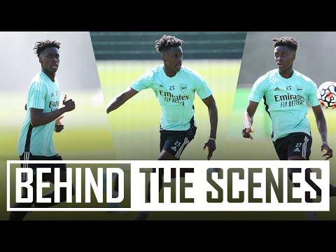 Albert Sambi Lokonga's first training session | Behind the scenes at Arsenal training centre