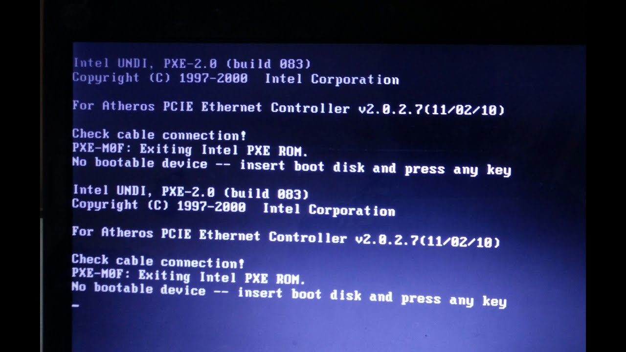 How to fix check cable connection! no bootable device detected
