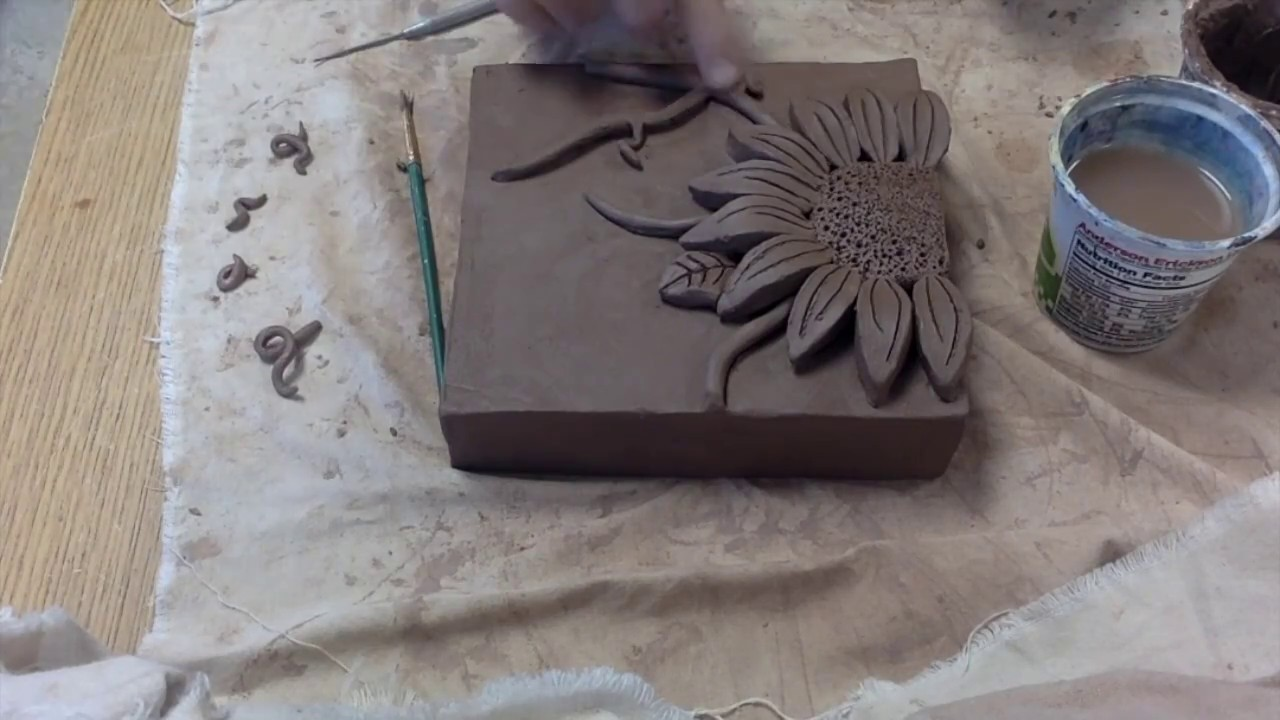 Time lapse ceramic flower relief tiles youtube