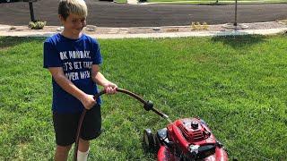 Kid Temper Tantrum Puts Water Inside Lawn Mower - Daddy Cries [ Original ]