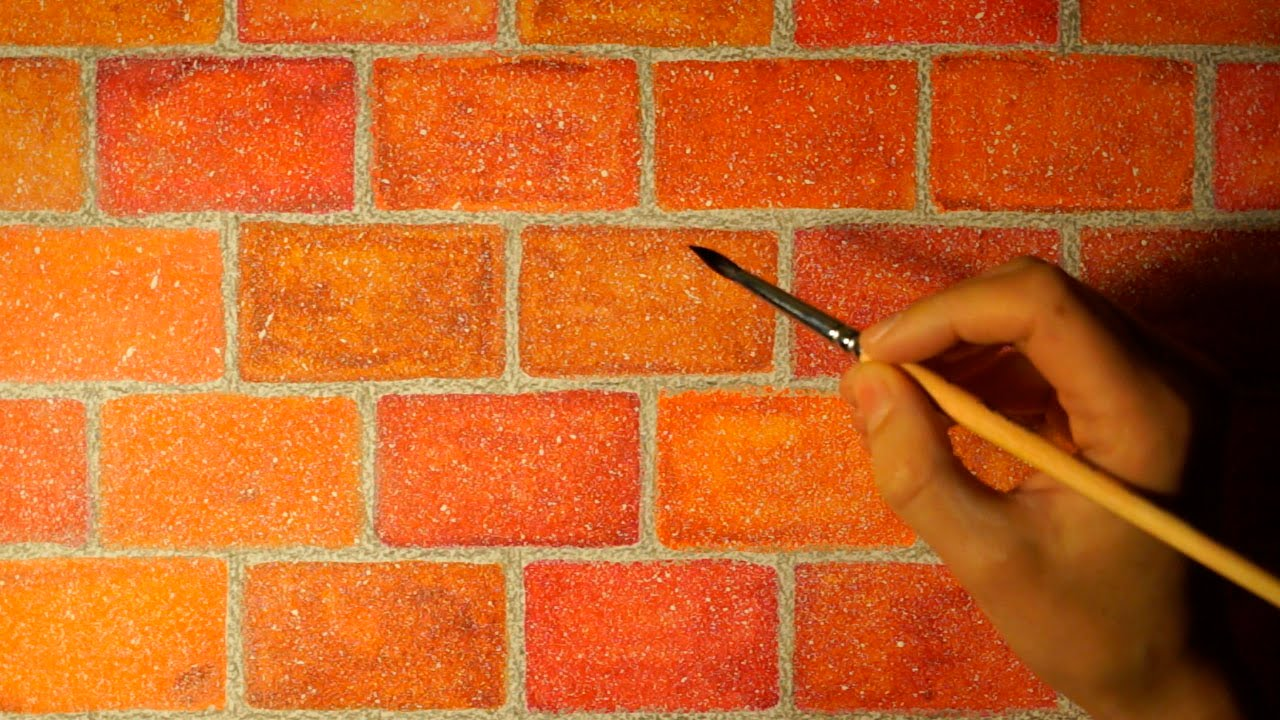 Brick Wall Art drawing realistic brick wall in watercolor. easy and simple. - youtube