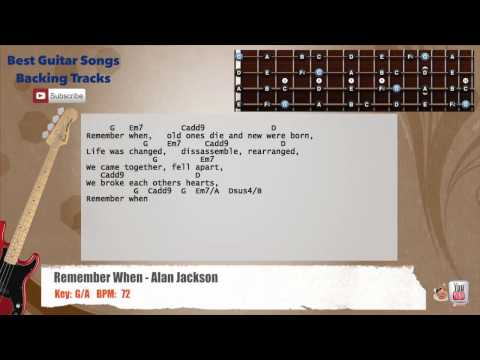 Remember When - Alan Jackson Bass Backing Track with scale, chords and lyrics