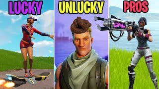 Fortnite Noob Gets POO'd On! LUCKY vs UNLUCKY vs PROS - Fortnite Funny Moments