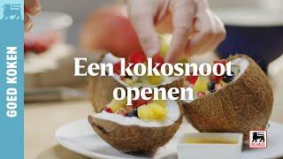 Een kokosnoot openen