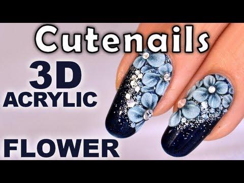 Nail art swarovski gel nails 3d flower design youtube prinsesfo Gallery